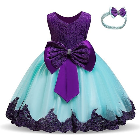 Purple Flower Lace Pageant Party Dress with Bowknot