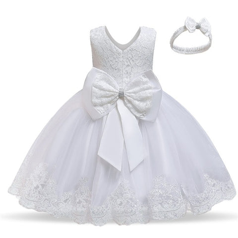 White Flower Lace Pageant Party Dress with Bowknot