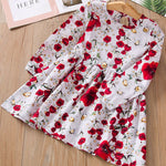 Rose Pattern Long sleeve Party Dress