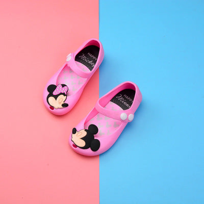 Minnie Butterfly Cartoon Image Soft Jelly Shoes