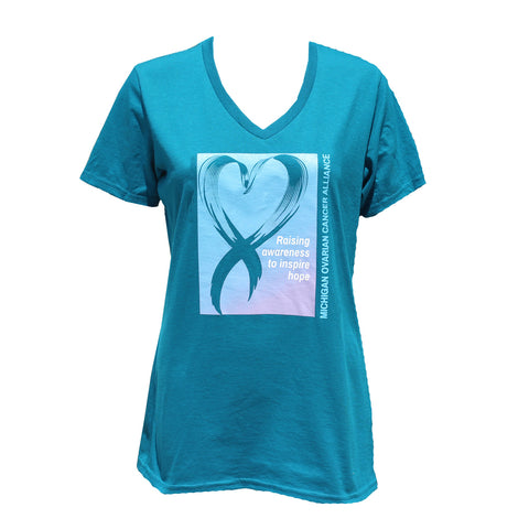 Raising Awareness Ladies V neck t-shirt - Teal
