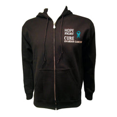 MIOCA Hope Fight Cure Front Zip Sweatshirt - Black