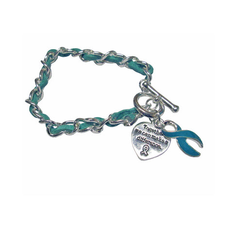 MIOCA Teal Ribbon Leather and Silver plate Charm Bracelet