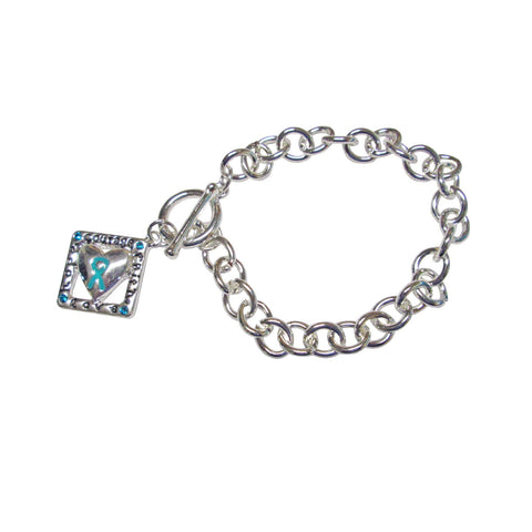 MIOCA Teal Ribbon Bracelet with Square Charm