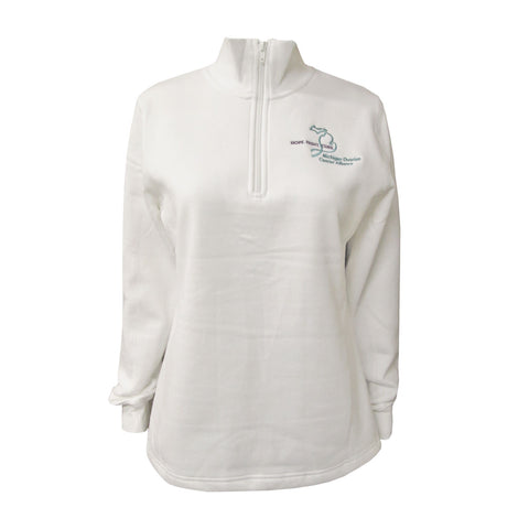 Michigan Teal Ribbon Ladies 1/4 Zip - White