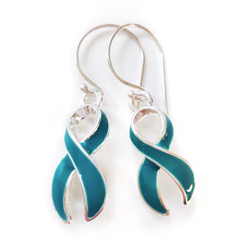 MIOCA Teal Ribbon Silver Hook Earrings