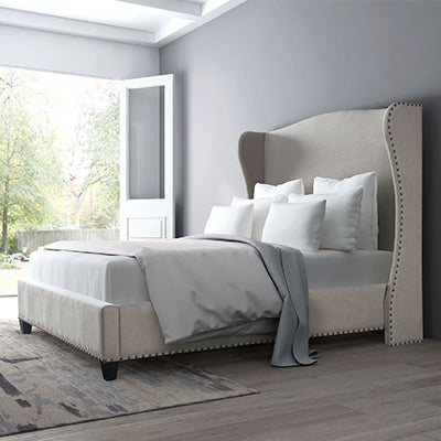 Beige Wingback Bed