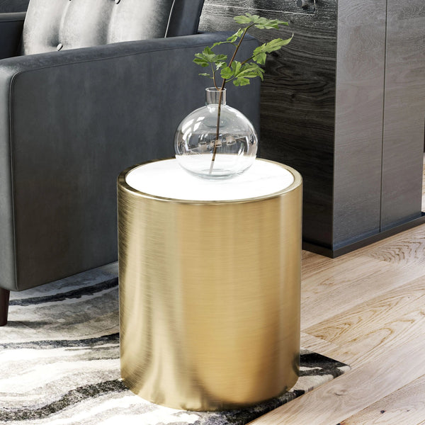 Accent Table White Marble & Brass