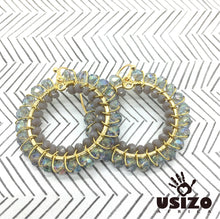 Load image into Gallery viewer, Usizo Crystal Circle Earrings - Crystal/Grey