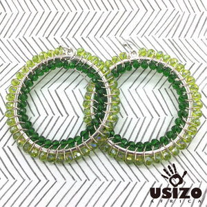 Usizo Big O Earrings - Greens Translucent