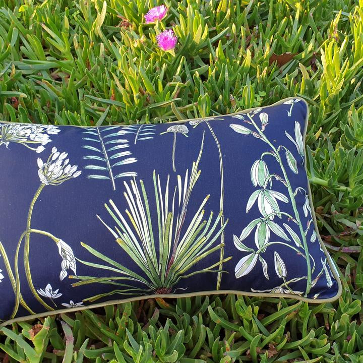 CoralBloom Cotton Rectangular Scatter Cushion - Greenery on Black