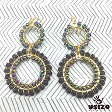 Load image into Gallery viewer, Usizo Double Crystal Circle Earrings - Metallic Oil/Purple