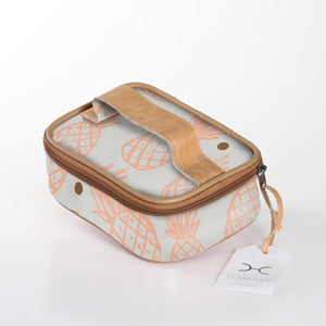 Thandana Single Toiletry Bag - Pineapple Dotty Peach Nectar with Gold