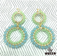 Load image into Gallery viewer, Usizo Double Crystal Circle Earrings - Pastel Blue/Green