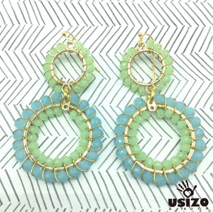 Usizo Double Crystal Circle Earrings - Pastel Blue/Green