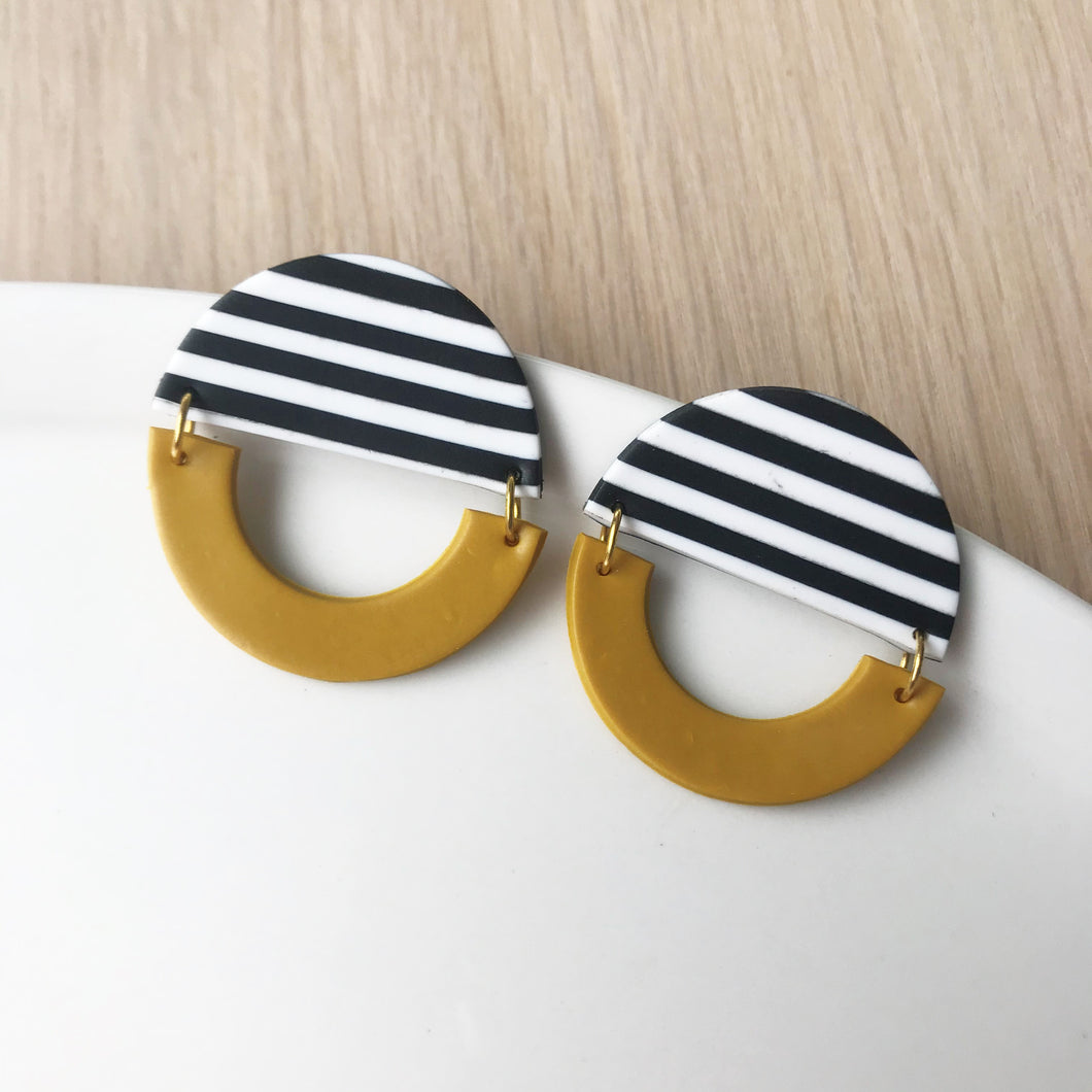 Roly Poly Pippa Earrings - Striped with Ochre