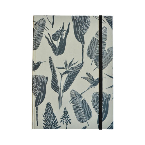 A Love Supreme Hardcover Lined Notebook - Botanicals Gunmetal on Mint