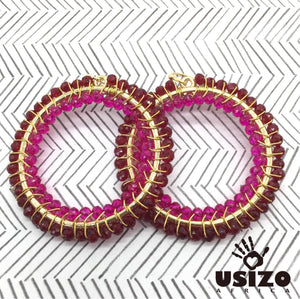 Usizo Big O Earrings - Ruby/Pink