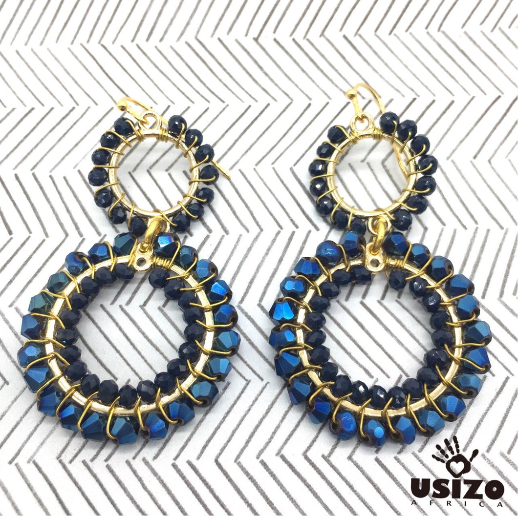 Usizo Double Crystal Circle Earrings - Metallic Navy Blue