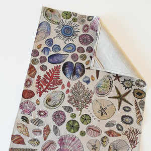 CoralBloom Hemp Tea Towel - Seashells