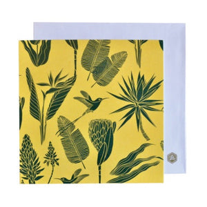A Love Supreme Square Notecard - Botanicals (Green on Yellow)