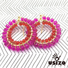 Load image into Gallery viewer, Usizo Crystal Circle Earrings - Pink & Red Translucent