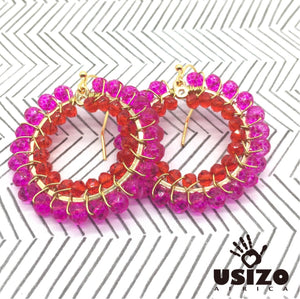 Usizo Crystal Circle Earrings - Pink & Red Translucent