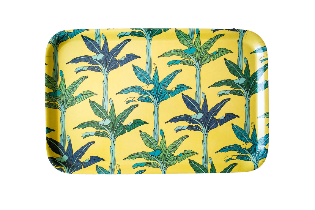 A Love Supreme Melamine Dinner Tray - Palms Yellow