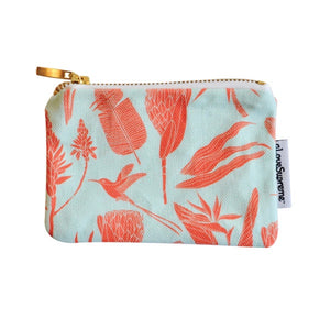 A Love Supreme Coin Purse (Gold Zip) - Botanicals Orange on Aqua