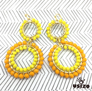 Usizo Double Crystal Circle Earrings - Yellow 1