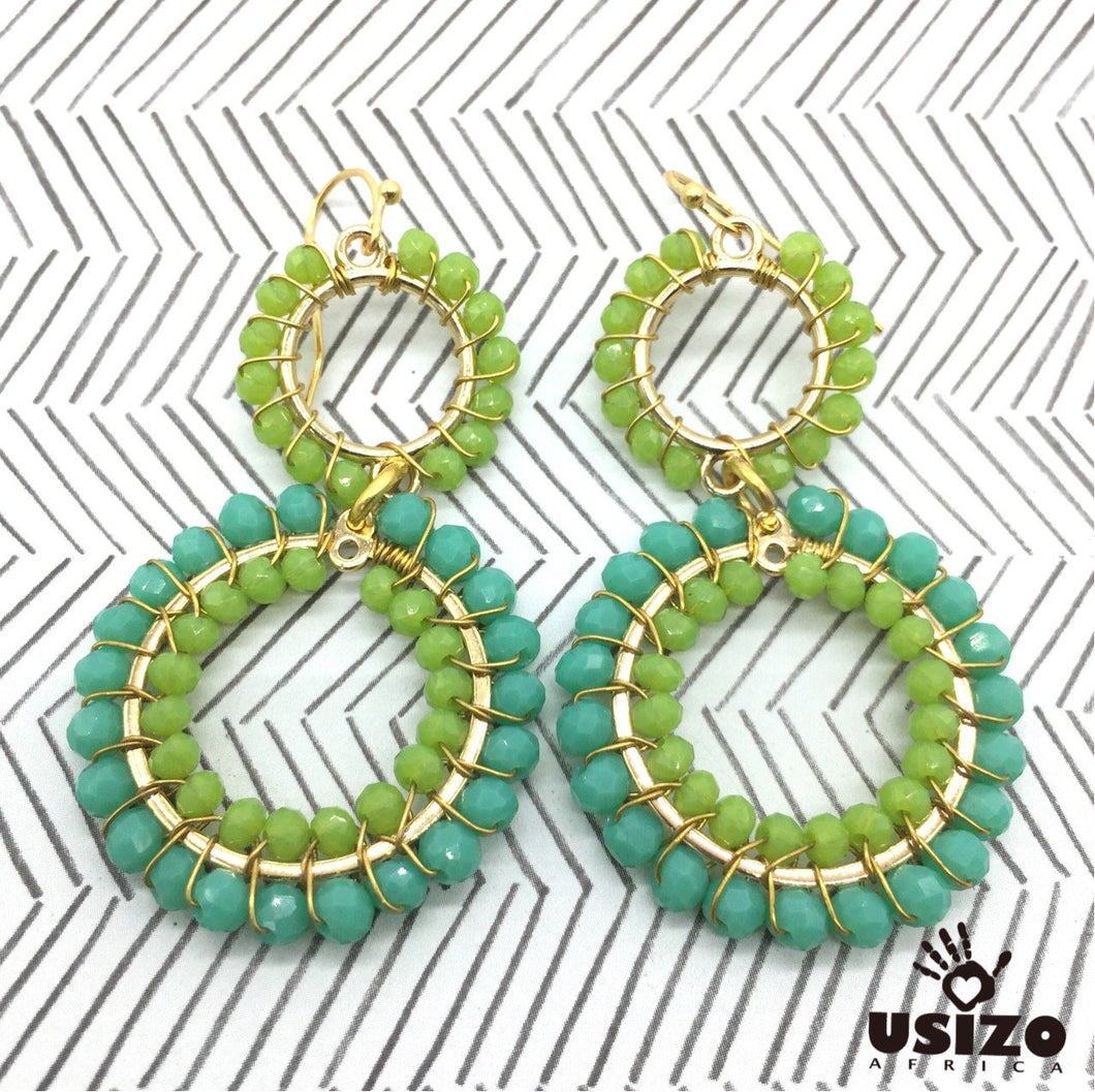 Usizo Double Crystal Circle Earrings - Aqua/Lime