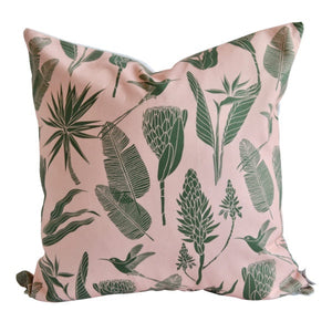 A Love Supreme Cushion Covers - Botanical Green on Pink
