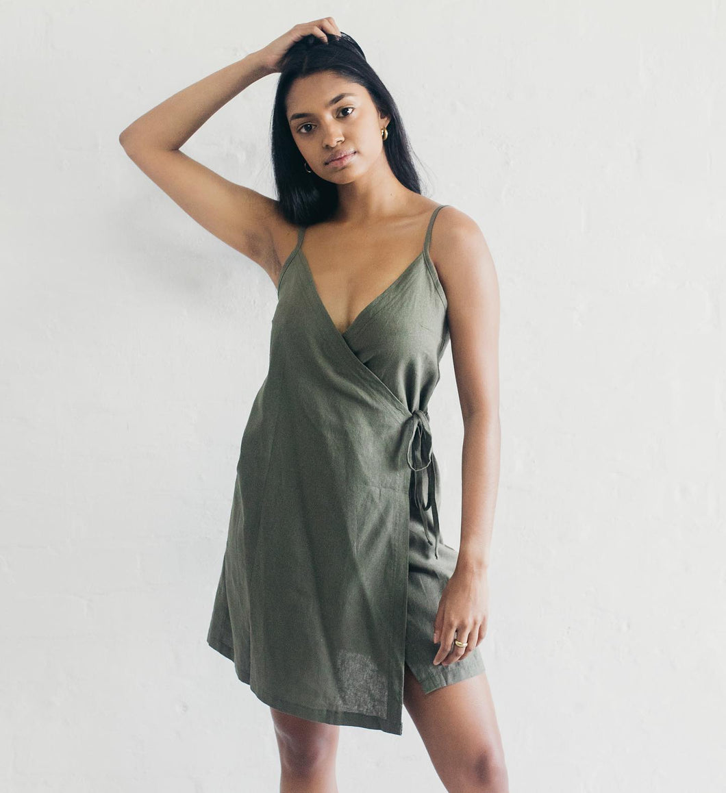 Janni & George Wrap Dress - Olive