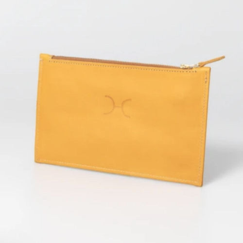 Thandana double zip pouch - mustard leather