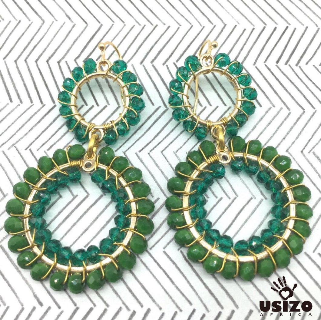 Usizo Double Crystal Circle earrings - Emerald/Aqua Translucent