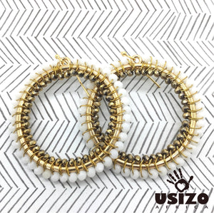 Usizo Big O Earrings - White/Metallic