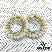 Load image into Gallery viewer, Usizo Crystal Circle Earrings - White/Crystal