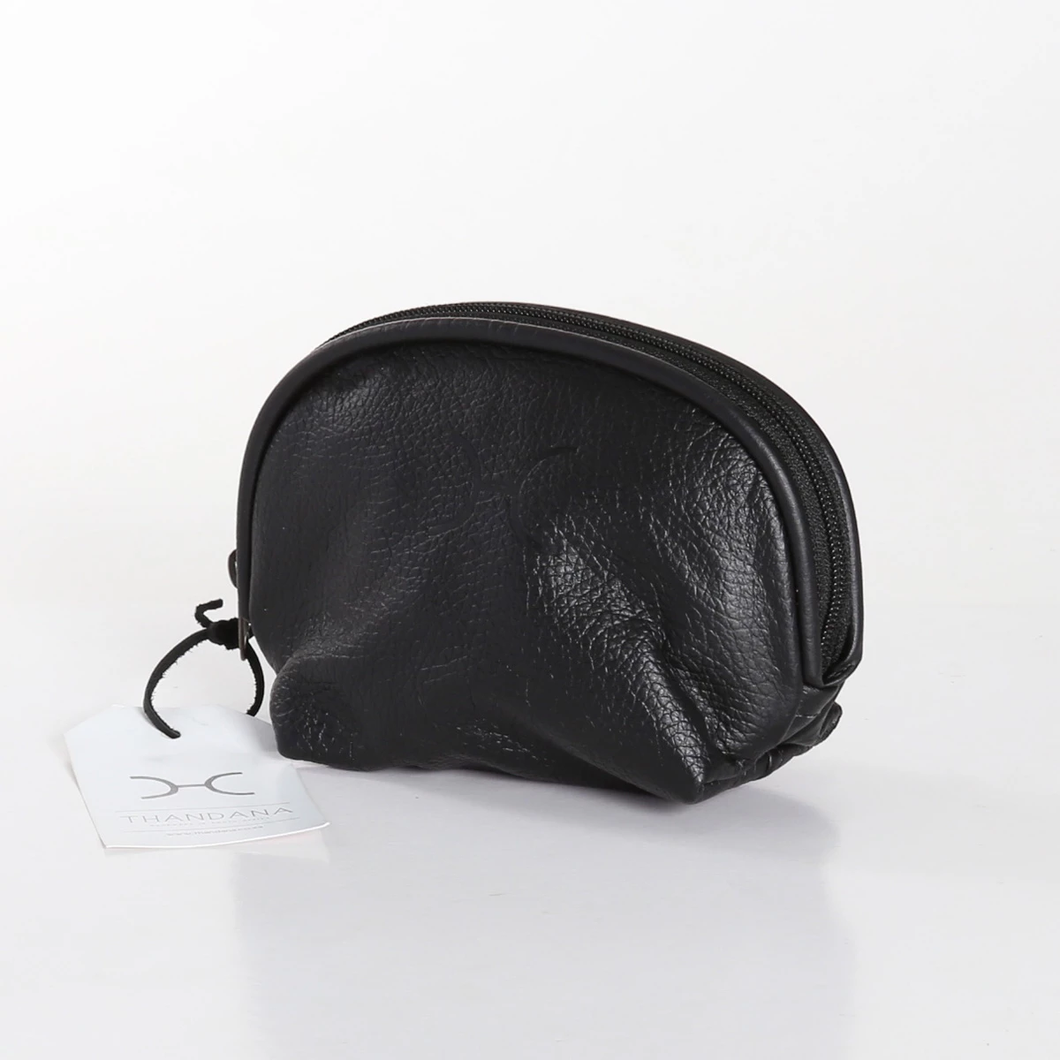 Thandana Leather Make-up Pouch - Black