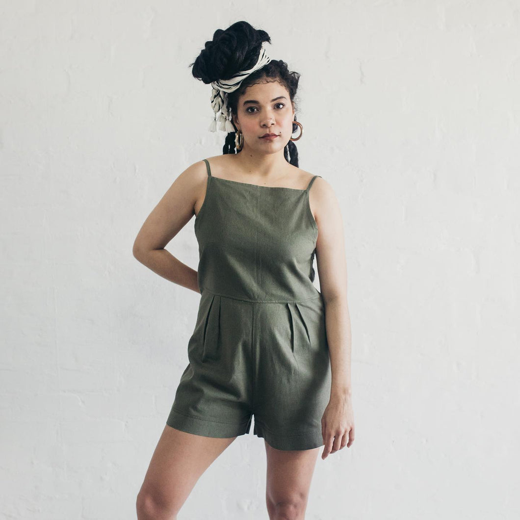 Janni & George Slip Playsuit - Olive