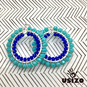 Usizo Crystal Circle Earrings - Aqua/Blue
