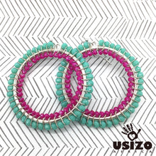 Load image into Gallery viewer, Usizo Big O Earrings - Aqua/Pink
