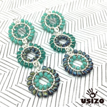 Load image into Gallery viewer, Usizo Baby Trio Earrings - Aqua/Teal