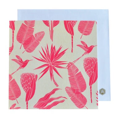 A Love Supreme Square Notecard - Botanicals (Pink on Sand)