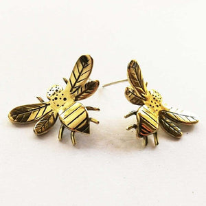 Miss H Bumble Bee Studs - Brass