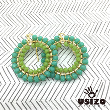 Load image into Gallery viewer, Usizo Crystal Circle Earrings - Aqua/Lime
