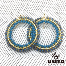 Load image into Gallery viewer, Usizo Big O Earrings - Midnight Blue Light