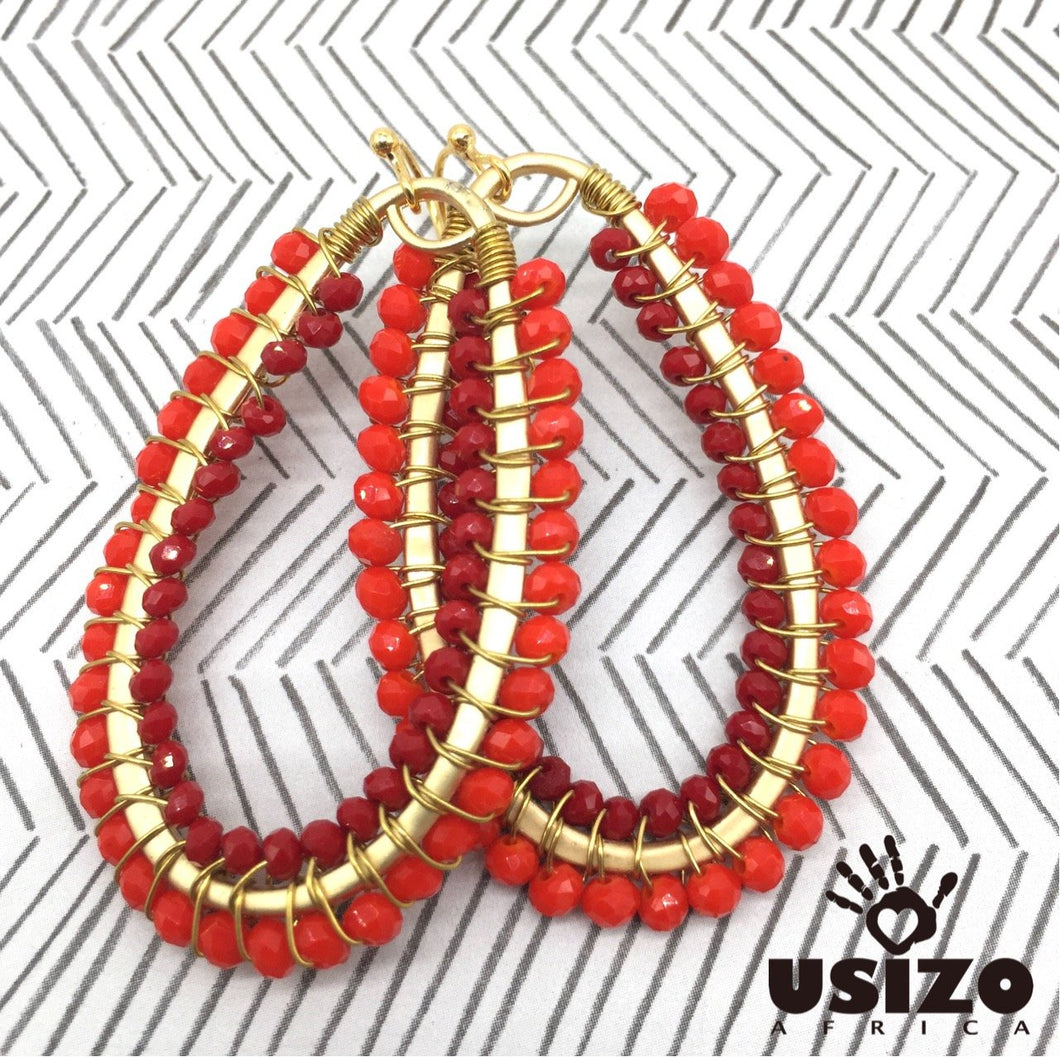 Usizo Drop Earrings Fully Beaded - Red/Scarlet