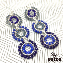 Load image into Gallery viewer, Usizo Baby Trio Earrings - Dark Blues