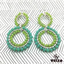 Load image into Gallery viewer, Usizo Double Crystal Circle Earrings - Aqua/Lime