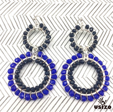 Load image into Gallery viewer, Usizo Double Crystal Circle Earrings - Blue 2